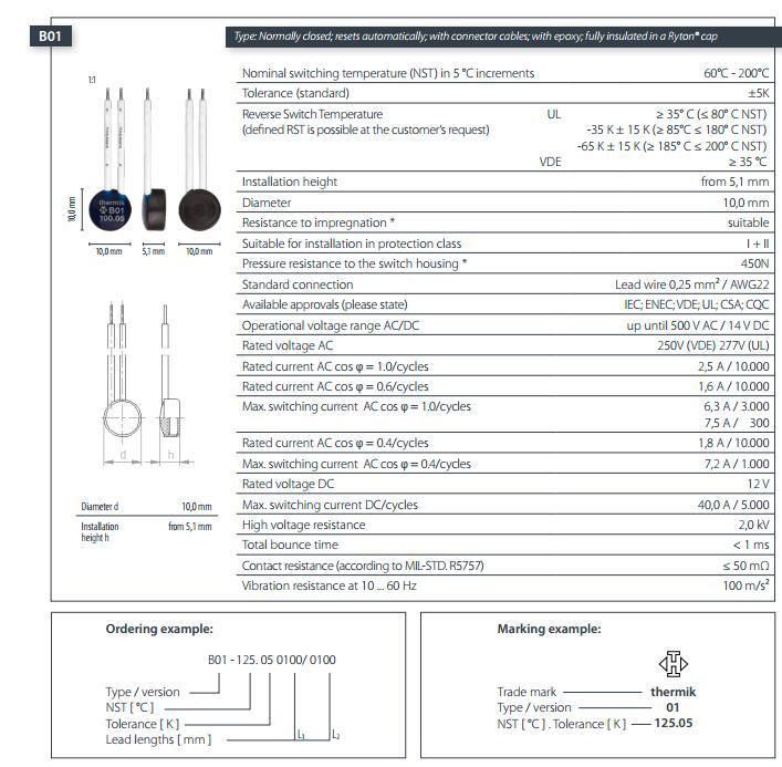 B01规格THERMIK温控器
